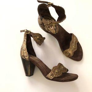 Calleen Cordero gold block heel sandals